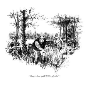 """""""Thayer! Come quick! Wild raspberries!"""" - New Yorker Cartoon by Charles Saxon"""
