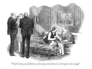"""""""The first thing you should know about going to Scandinavia is that pants ?"""" - New Yorker Cartoon by Charles Saxon"""