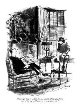 You know how it is, Ted. Since I went to Princeton, I was sort of h? - New Yorker Cartoon by Charles Saxon