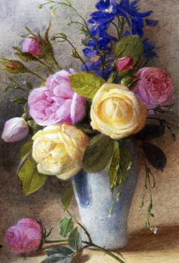 Roses and Delphinium in a Vase by Charles Slater