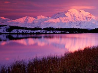 Mt. Denali at Sunset From Reflection Pond in Denali National Park, Alaska, USA