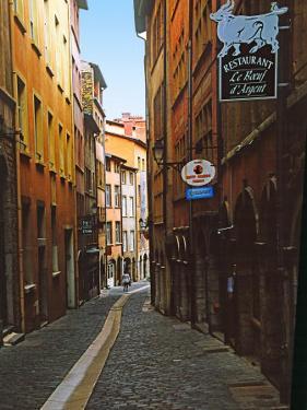 Narrow Street in Lyon (Vieux Lyon), France by Charles Sleicher