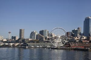 Seattle Waterfront with the Great Wheel on Pier 57, Seattle, Washington, USA by Charles Sleicher