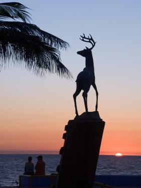 Sunset Near the Deer Monument at the Olas Altas, Mazatlan, Mexico by Charles Sleicher