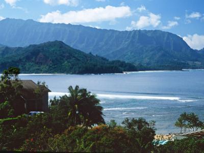 View of Hanalei Bay and Bali Hai from the Princeville Hotel, Kauai, Hawaii, USA