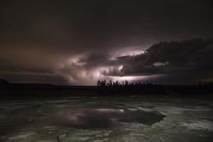 Clouds Lit by Lightning at Middle Geyser Basin in Yellowstone National Park by Charles Smith