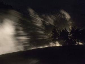 Steam from Excelsior Springs, Lit by Approaching Car Lights Through the Trees by Charles Smith