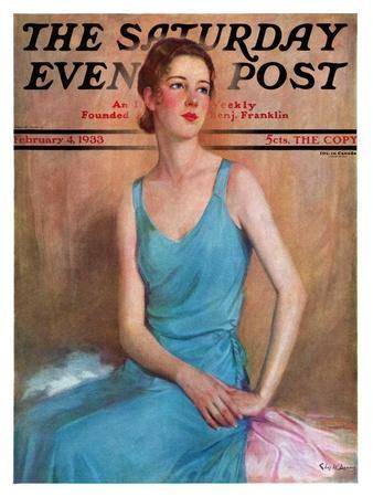 """""""Blue Dress,"""" Saturday Evening Post Cover, February 4, 1933"""