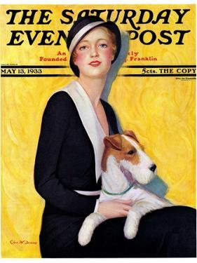 """""""Woman and Airedale,"""" Saturday Evening Post Cover, May 13, 1933 by Charles W. Dennis"""
