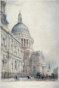 South-West View of St Paul's Cathedral from St Paul's Churchyard, City of London, 1842 by Charles Walter Radclyffe