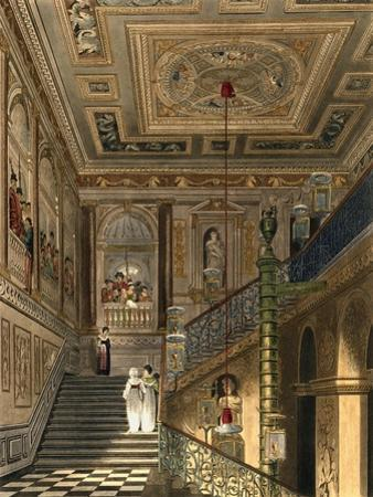 The Great Staircase at Kensington Palace from Pyne's Royal Residences, Engraved by Richard Reeve