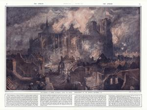 The Burning of Reims Cathedral after the Severe Bombardment by the Germans, 17-24 September 1914 by Charles William Wyllie