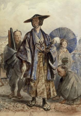 A Samurai Officer and a Servant in a Street