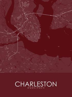 Charleston, United States of America Red Map