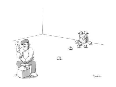 Sculptor throws away attempts like wads of paper. - New Yorker Cartoon