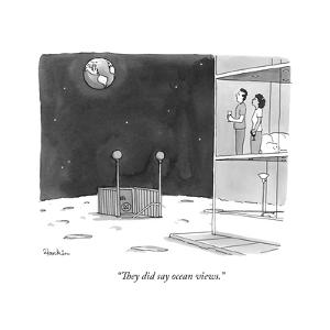 """They did say ocean views."" - New Yorker Cartoon by Charlie Hankin"