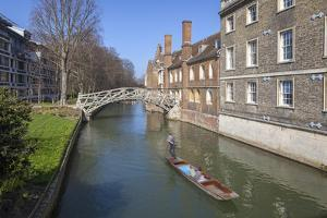 Mathematical Bridge, Connecting Two Parts of Queens College, with Punters on the River Beneath by Charlie Harding