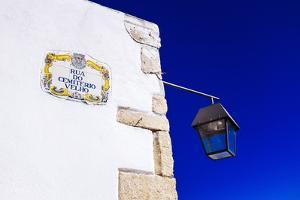 Traditional Local Street Sign and Street Lamp, Old Town, Albufeira, Algarve, Portugal, Europe by Charlie Harding