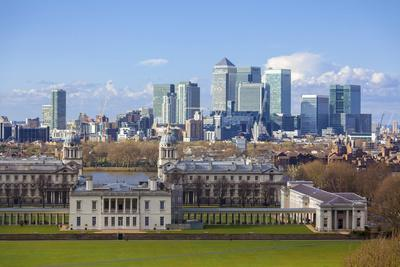 View of the The Old Royal Naval College and Canary Wharf, Taken from Greenwich Park, London