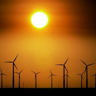 A Group of Wind Turbines are Silhouetted by the Setting Sun