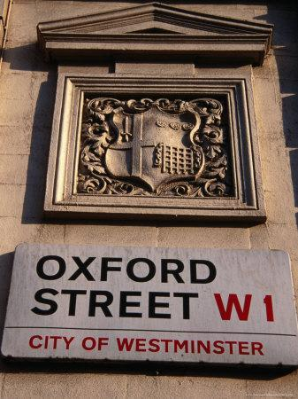 Coat of Arms and Street Sign on Wall, Oxford St, London, United Kingdom
