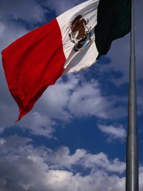 Large National Flag Flying in El Zocalo, Mexico City, Mexico by Charlotte Hindle
