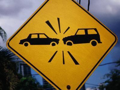 Road Sign Warning of Car Crashes, Panama City, Panama