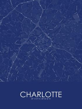 Charlotte, United States of America Blue Map