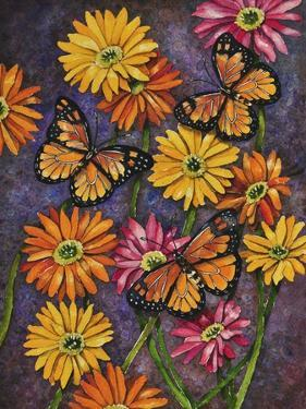 Monarch and Gerba Daisies by Charlsie Kelly