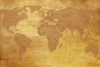 Map Of World On Old Paper