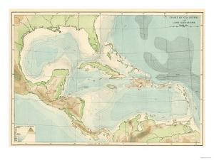 Chart of the West Indies Sea Depths and Land Elevations