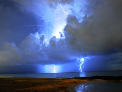 Lightning on Beach in Mexico