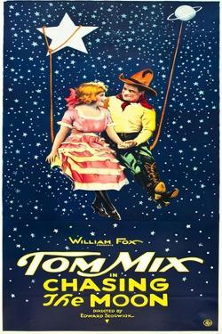 Chasing The Moon, Eva Novak, Tom Mix on US insert poster, 1922