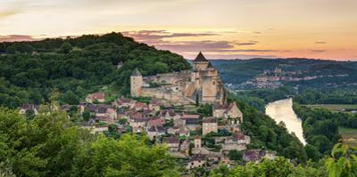Chateau De Castelnaud Castle and Dordogne River at Sunset
