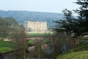 Chatsworth House from the West over the River Derwent, Derbyshire