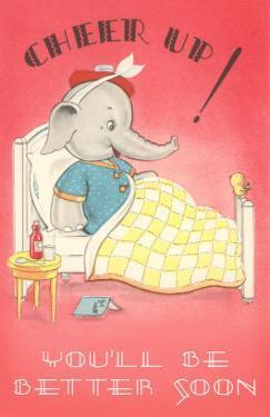 Cheer Up, Cartoon Elephant in Bed