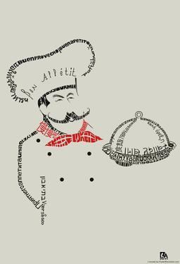 Chef Bon Appetite Languages Text Poster