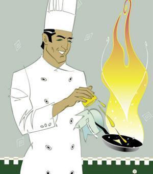 Chef Squeezing Lemon into a Saute Pan