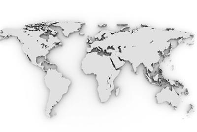 3D Silver World Map