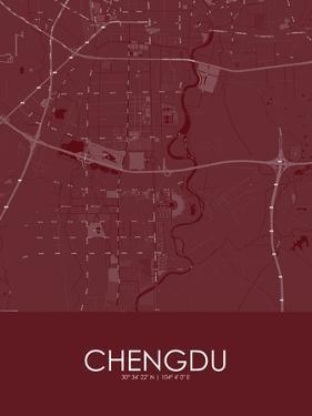 Chengdu, China Red Map