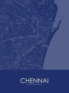 Chennai, India Blue Map