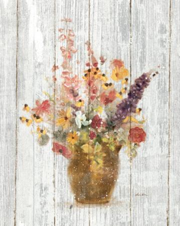 Wild Flowers in Vase I on Barn Board by Cheri Blum