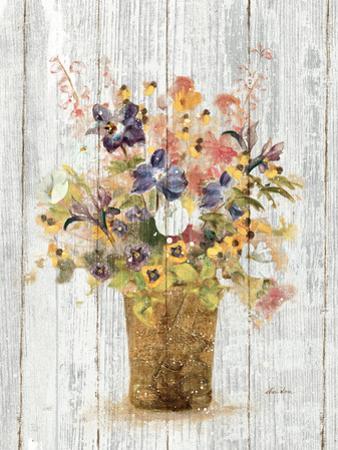Wild Flowers in Vase II on Barn Board by Cheri Blum