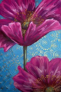 Pink Poppies on Blue by Cherie Roe Dirksen