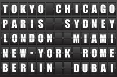 Flight Destination, Information Display Board Named World Cities Tokyo, Chicago, Paris, Sydney, Lon by cherkas