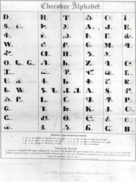 """Cherokee Alphabet, from Pendelton's """"Lithography,"""" 1835"""