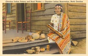 Cherokee Indian with Pottery, North Carolina