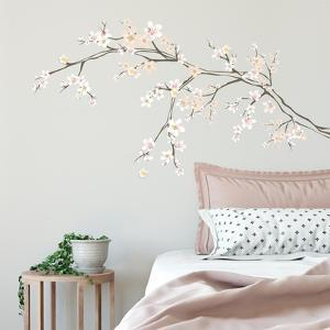 Cherry Blossom Branch Peel And Stick Giant W/ Embellishments
