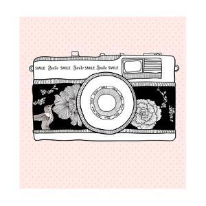 Background With Retro Camera. Photo Camera With Flowers And Birds by cherry blossom girl