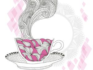 Coffee And Tea Mug With Abstract Doodle Pattern by cherry blossom girl